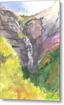 Metal Print featuring the painting Bridal Veil Falls by Sherril Porter