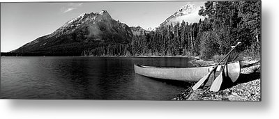 Canoe In Lake In Front Of Mountains Metal Print by Panoramic Images