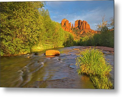 Cathedral Rocks Reflect Into Oak Creek Metal Print by Chuck Haney