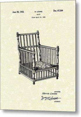 Chair 1932 Patent Art Metal Print by Prior Art Design