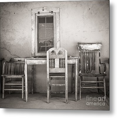 3 Chairs Metal Print