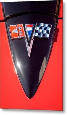 Chevrolet Corvette Hood Emblem Metal Print by Jill Reger