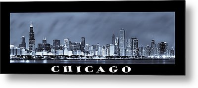 Chicago Skyline At Night Metal Print by Sebastian Musial