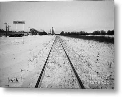 Cn Canadian National Railway Tracks And Grain Silos Kamsack Saskatchewan Canada Metal Print by Joe Fox