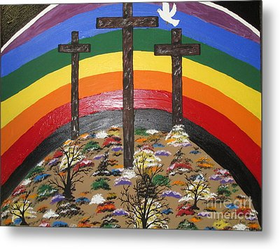 3 Crosses And A Rainbow Metal Print