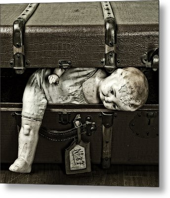Doll In Suitcase Metal Print by Joana Kruse