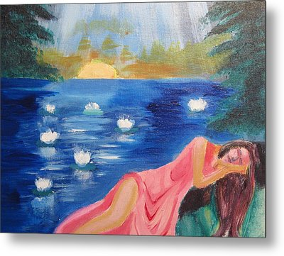 Metal Print featuring the painting Dreaming At Lotus Lake by Diana Riukas