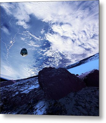 Earth And Asteroid Metal Print