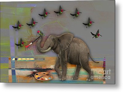 Elephant Painting Metal Print by Marvin Blaine