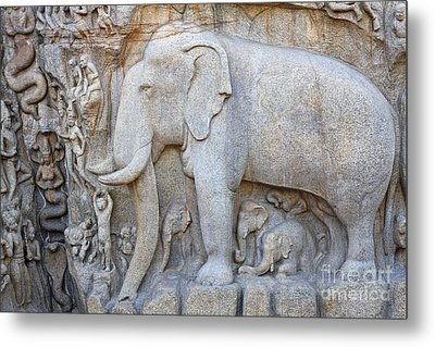 Elephant Sculpture At Mamallapuram  Metal Print by Robert Preston