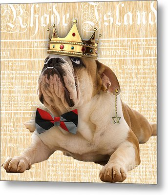 English Bulldog Bowtie Collection Metal Print by Marvin Blaine
