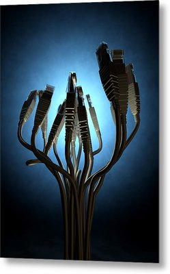 Ethernet Abstract Silhouettes Metal Print