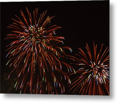 Fireworks At The Albuquerque Hot Air Metal Print by William Sutton
