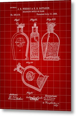 Flask Patent 1888 - Red Metal Print