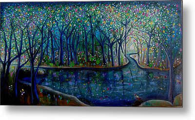Glistening Forest Lake Metal Print