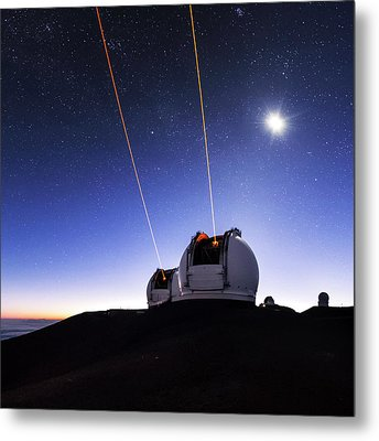 Guide Lasers Over Mauna Kea Observatories Metal Print by Babak Tafreshi