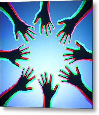 Hands With Colour Mixing Metal Print by Science Photo Library