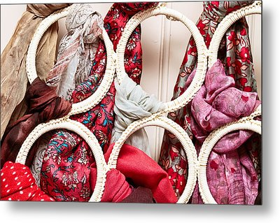 Hanging Scarfs Metal Print by Tom Gowanlock
