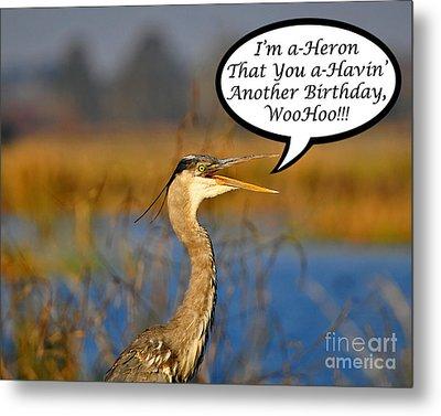 Happy Heron Birthday Card Metal Print by Al Powell Photography USA