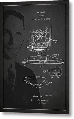 Henry Ford Engine Patent Drawing From 1928 Metal Print by Aged Pixel