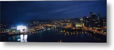 High Angle View Of Buildings Lit Metal Print by Panoramic Images