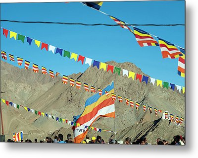 India, Ladakh, Leh, Prayer Flags Metal Print by Anthony Asael
