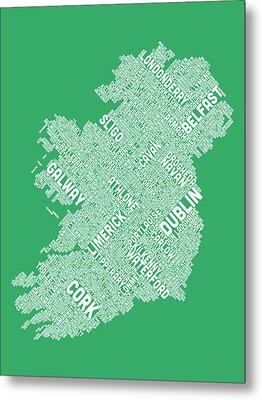 Ireland Eire City Text Map Metal Print by Michael Tompsett