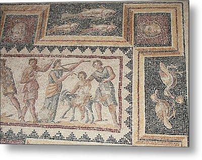 Israel, Lower Galilee, Floor Mosaic Metal Print by Ellen Clark