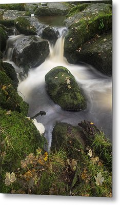 Landscape Of Becky Falls Waterfall In Dartmoor National Park Eng Metal Print by Matthew Gibson