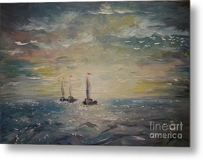 3 Little Boats Metal Print
