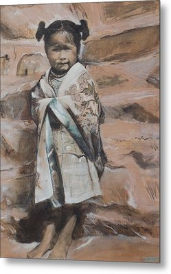 Little Hopi Girl Metal Print