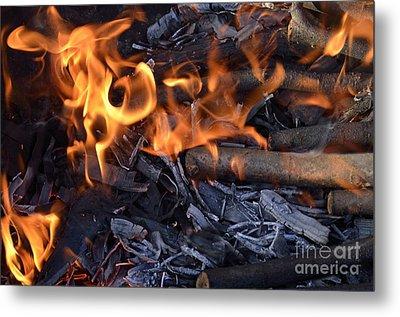 Log Fire And Flames Metal Print by Sami Sarkis