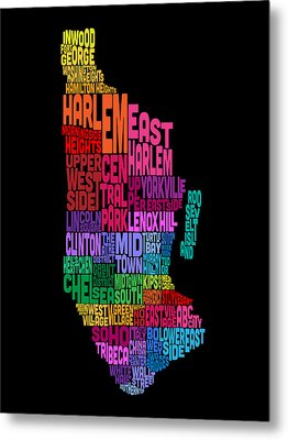 Manhattan New York Typography Text Map Metal Print