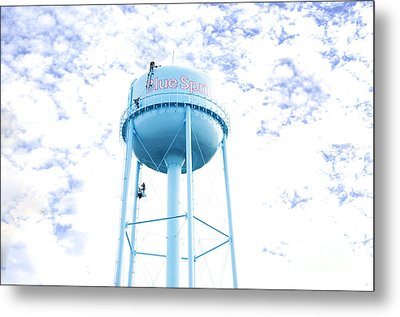 3 Men Painting The Blue Springs Water Tower Metal Print by Andee Design