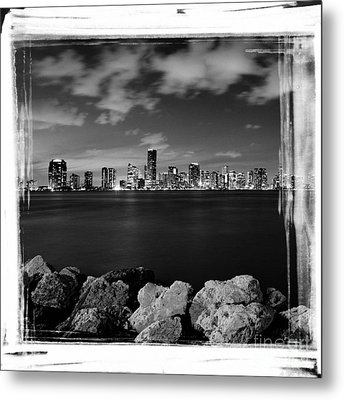Metal Print featuring the photograph Miami Skyline At Night by Carsten Reisinger