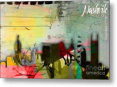 Nashville Skyline Watercolor Metal Print by Marvin Blaine