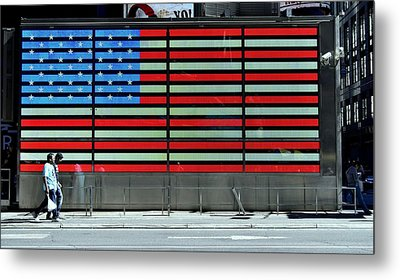 Neon American Flag Metal Print by Allen Beatty