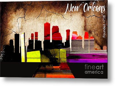 New Orleans Skyline Watercolor Metal Print by Marvin Blaine
