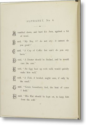 Nonsense Alphabets By Edward Lear Metal Print by British Library