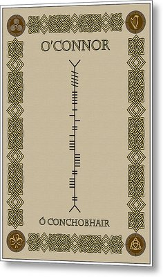 Metal Print featuring the digital art O'connor Written In Ogham by Ireland Calling