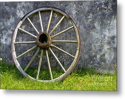 Antique Wagon Wheel Metal Print by Olivier Le Queinec