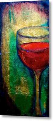 One More Glass Metal Print by Debi Starr
