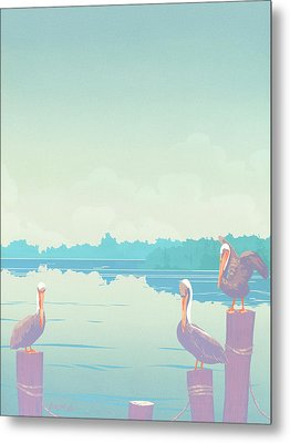 Abstract Pelicans Tropical Florida Seascape Large Pop Art Nouveau 80s 1980s Stylized Painting Metal Print by Walt Curlee