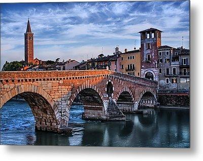 Ponte Pietra Verona Metal Print by Carol Japp
