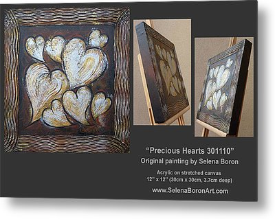 Metal Print featuring the painting Precious Hearts 301110 by Selena Boron