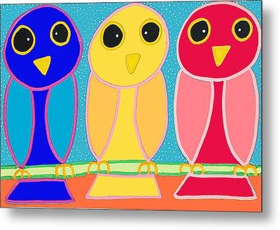 3 Primary Colored Owls Metal Print by Matthew Brzostoski