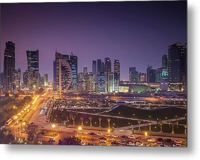 Qatar, Doha, Doha Bay, West Bay Metal Print