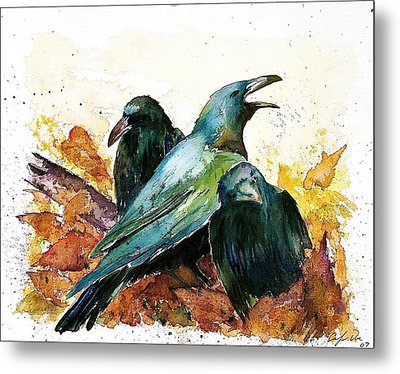 3 Ravens Metal Print by Carolyn Doe