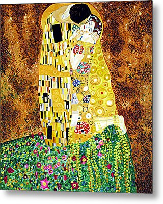 Reproduction Of - The Kiss By Gustav Klimt Metal Print by Ze  Di