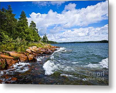 Rocky Shore Of Georgian Bay Metal Print by Elena Elisseeva